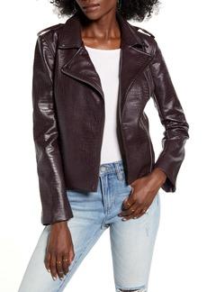 BB Dakota Lucky Lizard Snake Embossed Faux Leather Moto Jacket