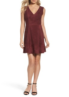 BB Dakota Lynne Faux Suede Skater Dress