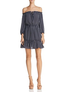 BB DAKOTA McKenna Striped Off-the-Shoulder Dress
