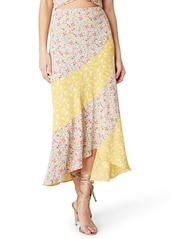 BB Dakota Mixing It Mixed Floral Print Midi Skirt