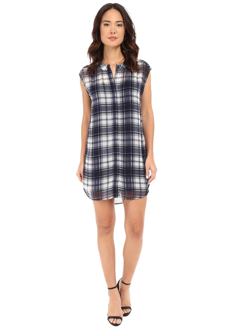 BB Dakota Nelson Plaid Chiffon Shirt Dress with Slip