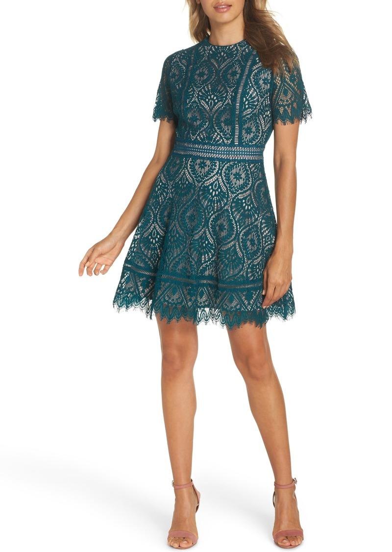 BB Dakota On List Short Sleeve Lace Fit & Flare Dress