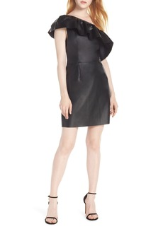BB Dakota One-Shoulder Faux Leather Dress