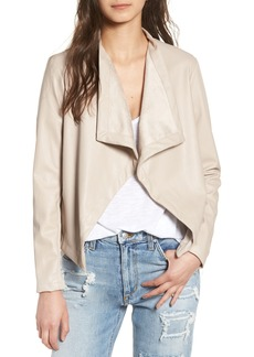 BB Dakota 'Peppin' Drape Front Faux Leather Jacket