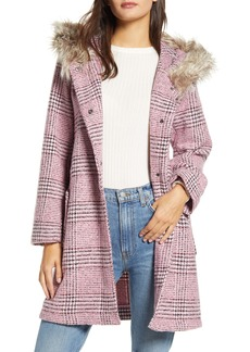 BB Dakota Pink Slip Houndstooth Plaid Hooded Coat