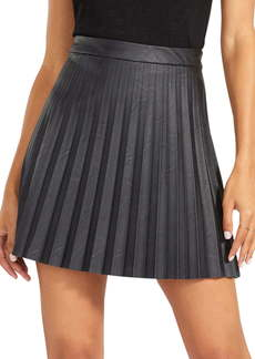 BB Dakota Private School Pleated Faux Leather Miniskirt