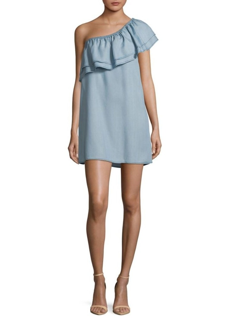 BB Dakota Ruffle One-Shoulder Cotton Mini Dress