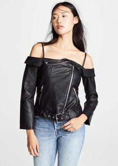 BB Dakota Sandra Off Shoulder Vegan Leather Jacket