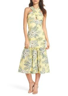 BB Dakota Sarafina Printed Eyelet Halter Dress