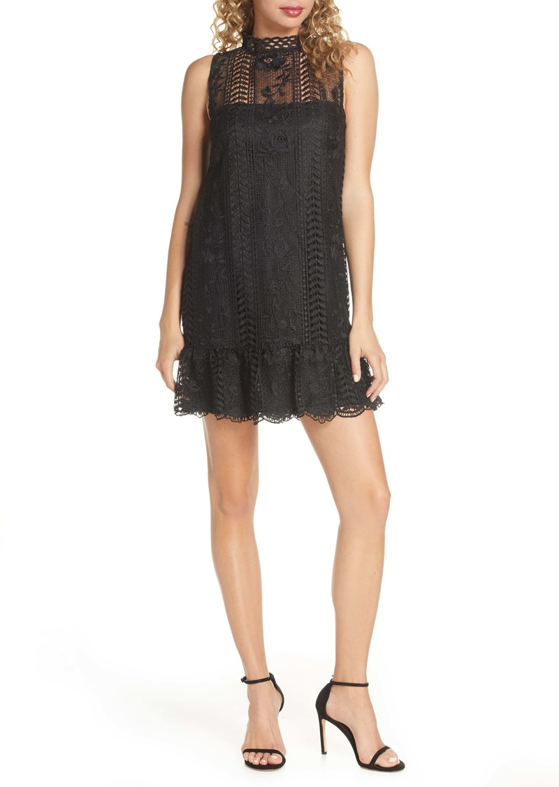 BB Dakota Sheri Mock Neck Sleeveless Lace Mini Shift Dress