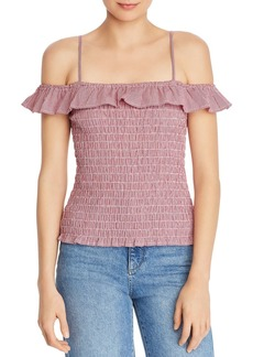 BB DAKOTA Smocked Cold-Shoulder Gingham Top