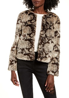 BB Dakota Snake Pattern Faux Fur Jacket