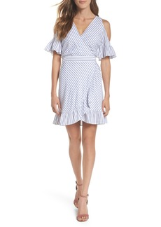 BB Dakota Stripe Ruffle Cold Shoulder Dress