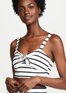 BB Dakota Striped Tie Front Crop Top