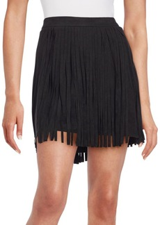 Saks Fifth Avenue Sueded Fringe Mini Skirt