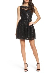 BB Dakota Tate Sequin Fit & Flare Dress