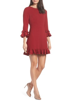 BB Dakota Tiered Ruffle Trim Crepe Dress