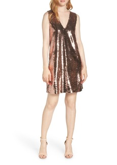 BB Dakota V-Neck Sequin Shift Dress