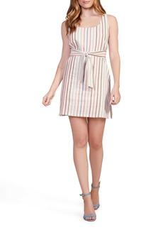 BB Dakota Walk the Linen Stripe Belted Shift Dress