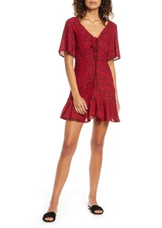BB Dakota Wildcat Print Flutter Sleeve Minidress