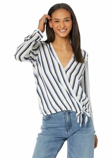 BB Dakota Womens Across My Heart Stripe Printed Reverse Crepon top ivory medium