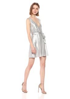 BB Dakota Women's Aggie Metallic Wrap Dress