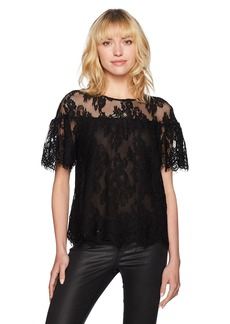 BB Dakota Women's Alda Ruffle Sleeve Lined Lace Top