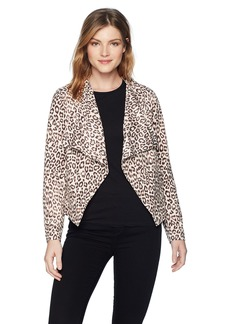 BB Dakota Women's Aleah Drape Front Leopard Jacket Light tan