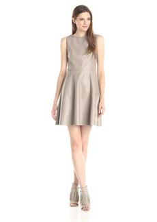 BB Dakota Women's April Faux Leather Fit and Flare Dress
