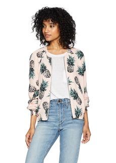 BB Dakota Women's Aylia Pineapple Print Bomber Jacket