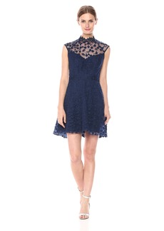 BB Dakota Women's Becky Novelty Lace Mockneck Dress