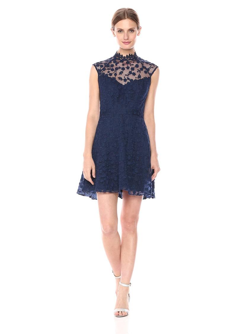 BB Dakota Women's Becky Novelty Lace Mockneck Dress