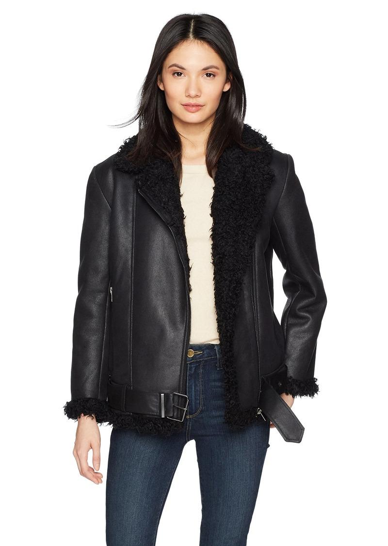BB Dakota Women's Bosworth Vegan Leather Shearling Jacket