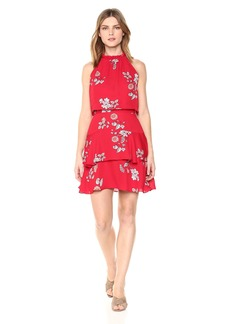 BB Dakota Women's Cadence Printed Ruffle Dress red