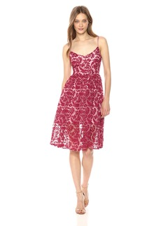 BB Dakota Women's Candler Two Tone Velvet Lace Midi Dress