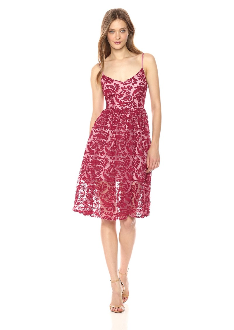 BB Dakota Women's Candler Two Tone Velvet Lace Midi Dress