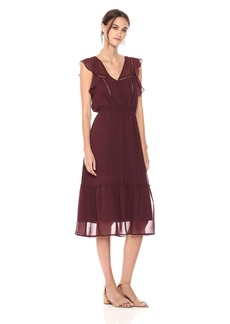 BB Dakota Women's Carra Printed Flutter Midi Dress