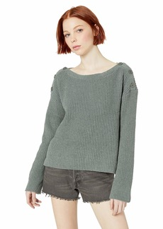 BB Dakota Womens Chenille Before me Sweater with Button Detail surplus green large