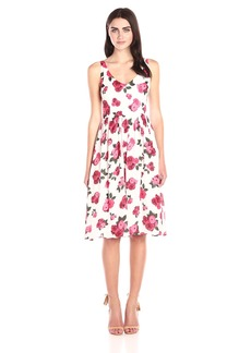 BB Dakota Women's Claudia Summer Rose Printed Reverse Crepon Midi Dress