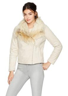 BB Dakota Women's claver Fur Faux Suede Sherpa Moto Jacket
