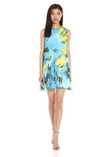 BB Dakota Women's Courtney Floral Printed Chiffon Pleated Dress