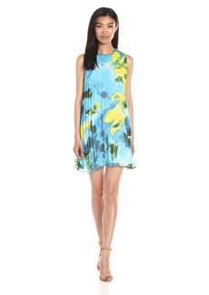 BB Dakota Women's Courtney Large Floral Printed Chiffon Pleated Dress