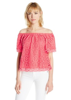 BB Dakota Women's Curren Off The Shoulder Lace Top Valentine Red