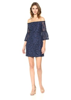 BB Dakota Women's Danlyn Off The Shoulder Printed Lace Dress