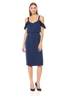 BB Dakota Women's Eileen Ruffle Sleeve Satin Dress