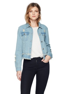 BB Dakota Women's Eisley Pearl Detailed Denim Jacket