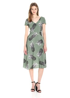 BB Dakota Women's Emilienne Pineapple Printed Midi Dress