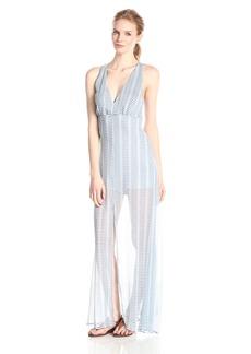 BB Dakota Women's Faxon Blurred Lines Printed Crinkle Chiffon Maxi Dress