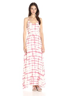 BB Dakota Women's Finnley Pink Plaid Printed Heavy Rayon Maxi Dress