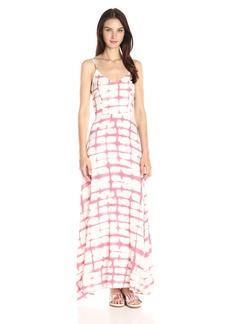 BB Dakota Women's Finnley Pink Plaid Printed Heavy Rayon Maxi Dress